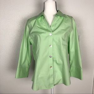 Foxcroft green button-up blouse